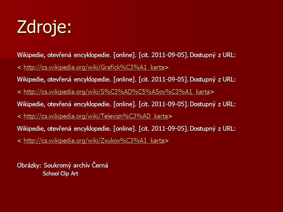 Zdroje: Wikipedie, otevřená encyklopedie. [online]. [cit. 2011-09-05]. Dostupný z URL: < http://cs.wikipedia.org/wiki/Grafick%C3%A1_karta>